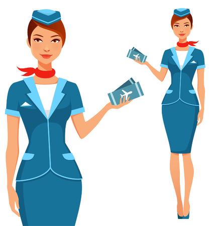 beautiful air hostess holding plane tickets