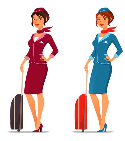 air hostess: mignon agent de bord de bande dessinée avec une valise