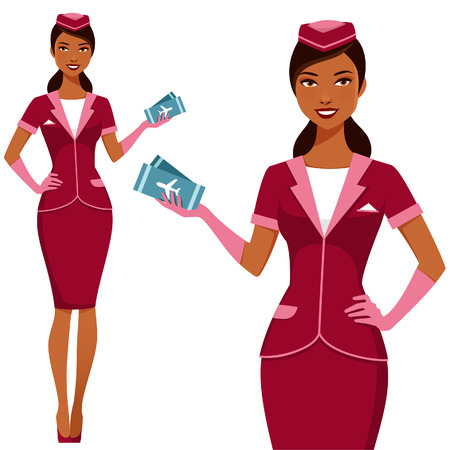beautiful Indian air hostess holding plane tickets