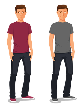 cartoon illustration of a young man in casual clothes