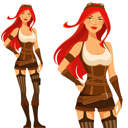 steampunk goggles: sexy cartoon steampunk girl with red hair