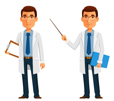 cartoon illustration of a friendly young doctor Çizim