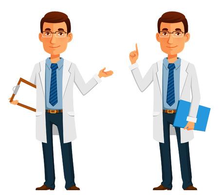portapapeles: ilustración de dibujos animados de un joven médico amigable Vectores