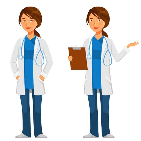 medico caricatura: Friendly joven médico en bata blanca con el estetoscopio Vectores
