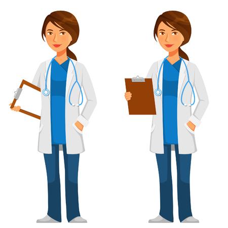 Friendly joven médico en bata blanca con el estetoscopio Ilustración de vector