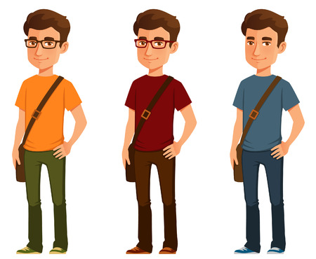 cartoon illustration of a student in casual clothes