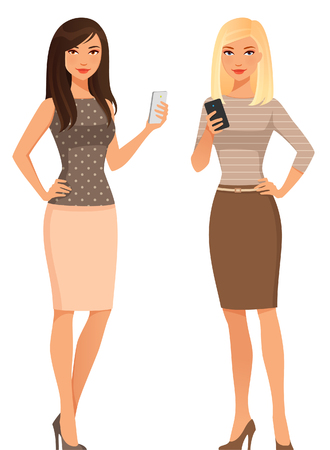 young women in smart casual fashion, using cell phone Ilustração