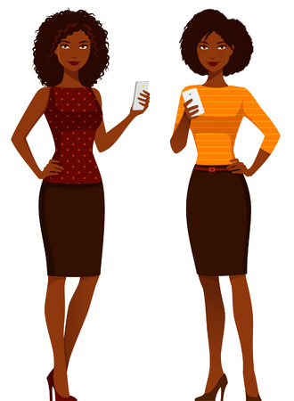woman cell phone: African American women in elegant clothes, using mobile phone Illustration