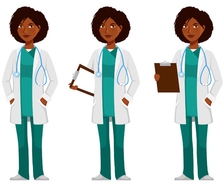 cartoon illustration of an African American doctor Stock Vector - 68811149