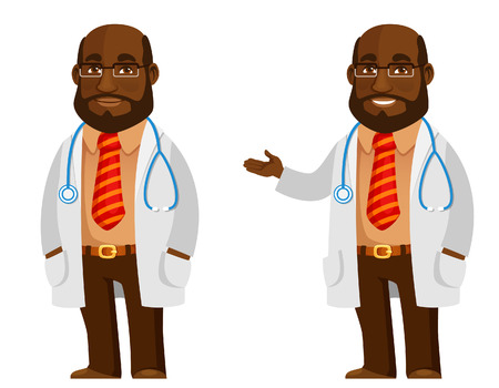 funny African American doctor in white coat