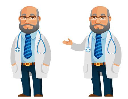 friendly cartoon doctor in white coat  イラスト・ベクター素材