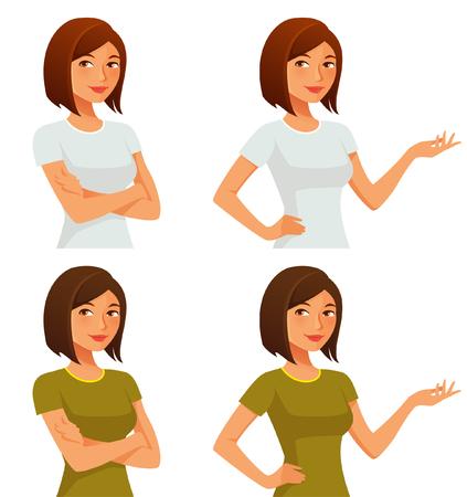 그녀의 팔을 교차 또는 몸짓으로 귀여운 만화 소녀