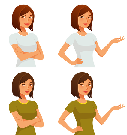 cute cartoon girl with her arms crossed or gesturing Vettoriali
