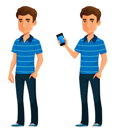friendly young guy in casual clothes, holding a cell phone