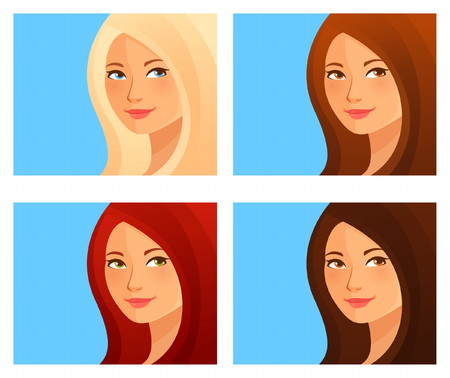 beautiful cartoon girl with different hair color  イラスト・ベクター素材