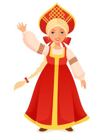 cute Russian girl in traditional folk dress  イラスト・ベクター素材