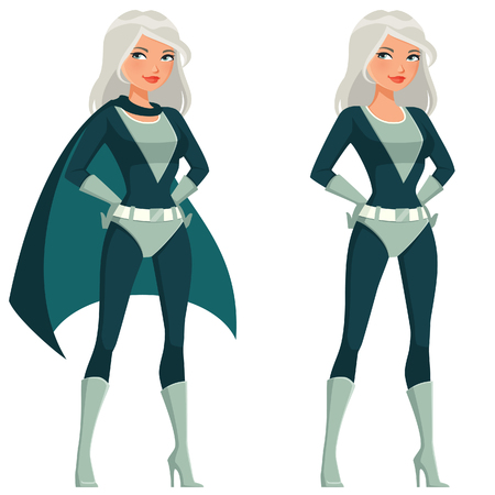 cute cartoon supergirl with silver hair