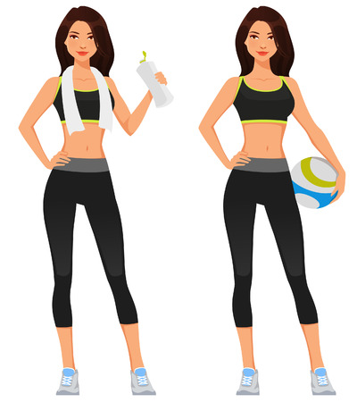 young fit woman in sportswear  イラスト・ベクター素材