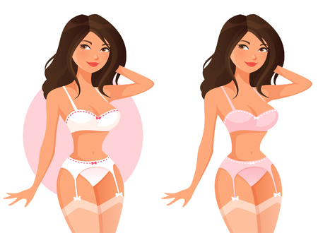 plus size girl: beautiful cartoon girl in lingerie
