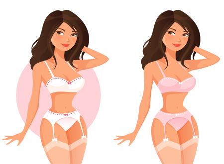 sexy stockings: beautiful cartoon girl in lingerie