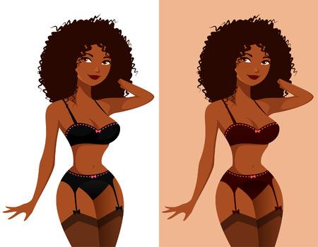muchacha atractiva del afroamericano en ropa interior Ilustración de vector