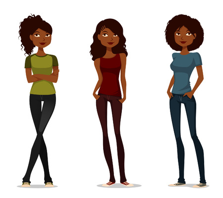 cute cartoon illustration of African American girls