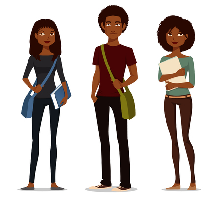 Cute cartoon illustration of African American students. Иллюстрация
