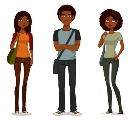 아프리카 계 미국인 학생의 귀여운 만화 그림