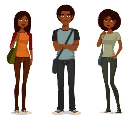 Niedlichen Cartoon Illustration der afrikanischen amerikanischen Studenten Standard-Bild - 73396761