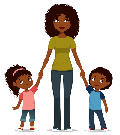 cartoon illustration of an African American mother with two kids Vettoriali