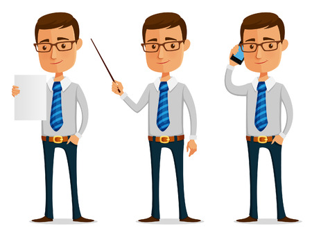 funny cartoon businessman holding paper, mobile phone or pointer Ilustrace