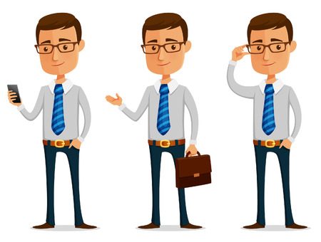 funny cartoon businessman holding mobile phone or briefcase