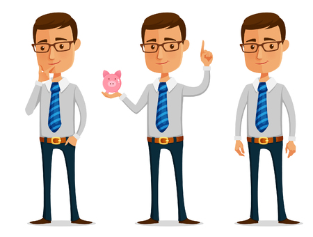 funny cartoon businessman holding piggy bank Vectores