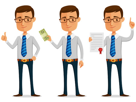 funny cartoon businessman holding stack of money or contract