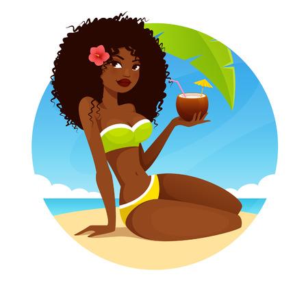 gorgeous African American girl in bikini Ilustrace