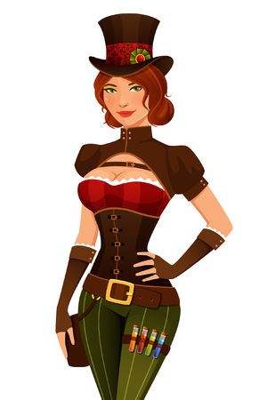 Cartoon girl in steampunk outfit