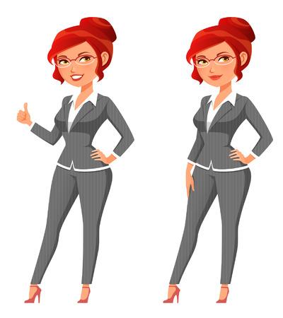 Cute cartoon business woman in gray suit.