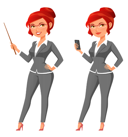 funny cartoon business woman holding a pointer or a cell phone