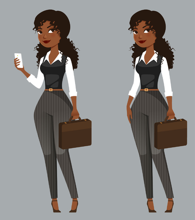 African American business woman with a briefcase 向量圖像