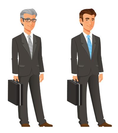 homme d'affaires de dessin animé en élégant costume gris