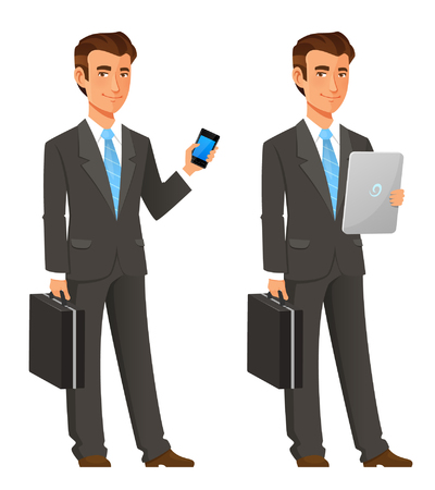 cartoon illustration of a handsome young businessman