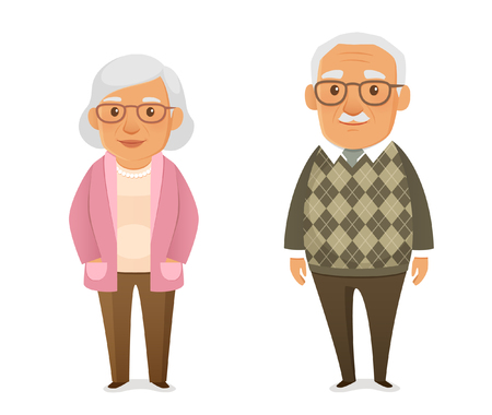 funny cartoon elderly couple