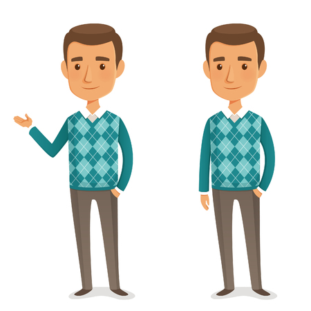 funny cartoon guy in turquoise sweater
