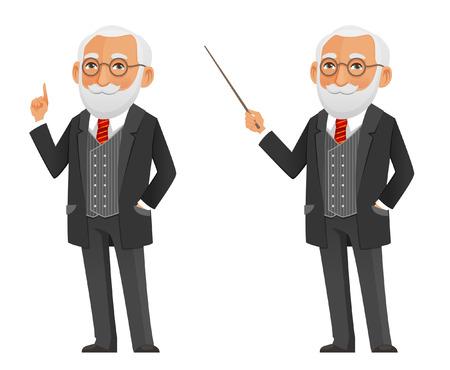 funny cartoon senior professor or scientist in black suit Illustration