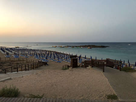 the beach of Fig tree bay. sunset on the sea. Cyprus. the Mediterranean sea