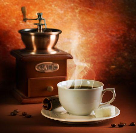 grinder: Tiempo de caf� Foto de archivo