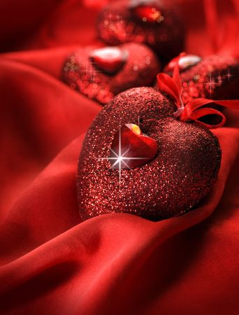 Valentine Hearts and red silk photo