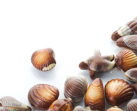 truffe blanche: Chocolat Seashells border.Isolated sur blanc