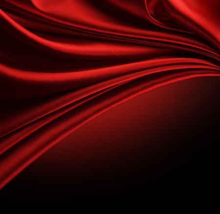 red silk: Abstract Red Silk Border isolated on black