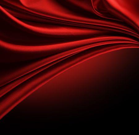 black satin: Borde de seda Roja abstracta aislados en negro  Foto de archivo